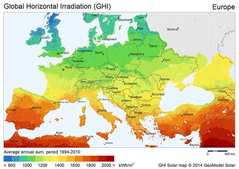 Energia słoneczna - nasłonecznienie w Europie
