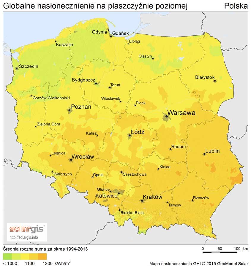 Energia słoneczna - nasłonecznienie w Polsce