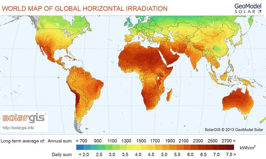 Energia słoneczna - nasłonecznienie na świecie