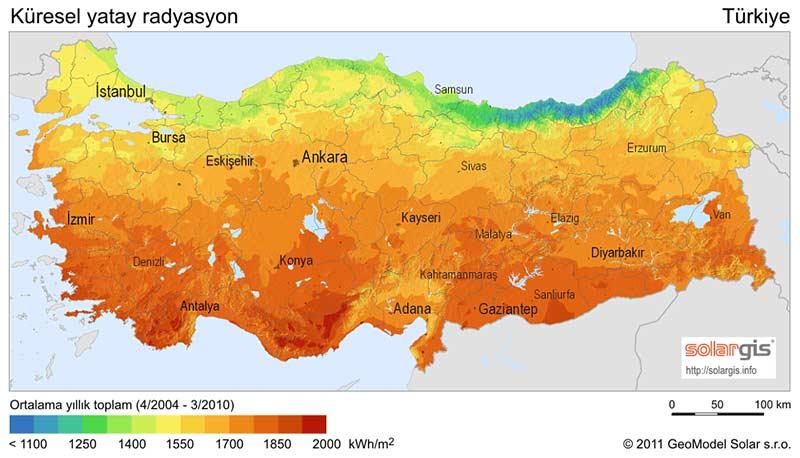 Energia słoneczna - nasłonecznienie w Turcji