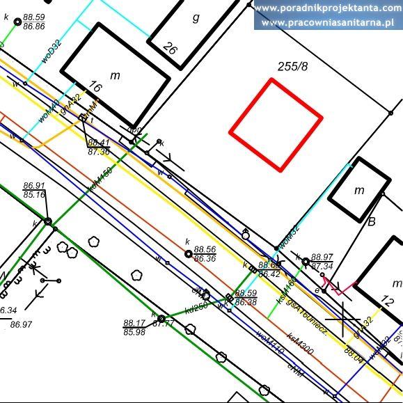 Mapa do celów projektowych - sieci i przyłącza kanalizacji deszczowej