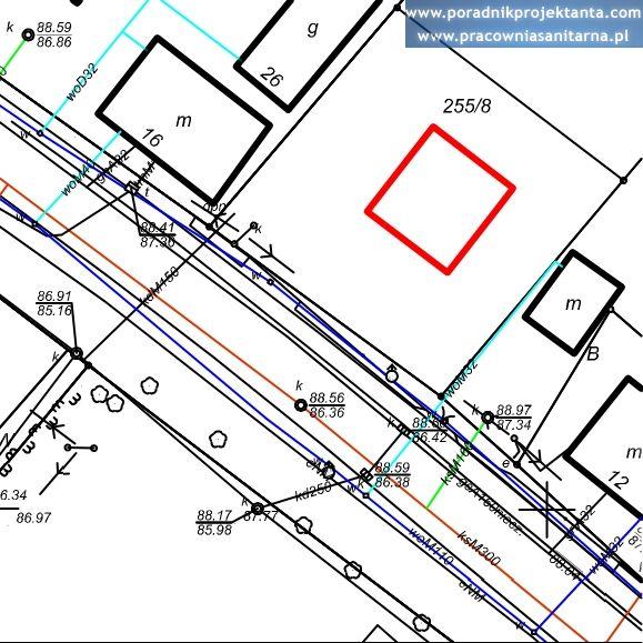 Mapa do celów projektowych - sieci i przyłącza kanalizacji sanitarnej