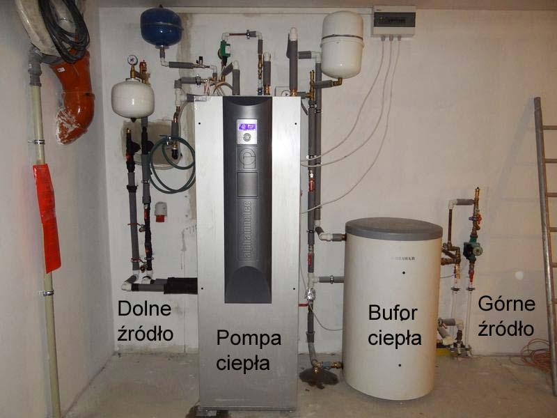 Maszynownia pompy ciepla 10kW z buforem ciepła