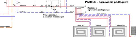 Schemat instalacji co z kotłem dwufunkcyjnym