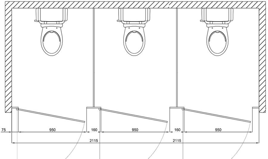 Przykładowy rzut toalety publicznej z 3 ustępami zabudowie systemowej z płyt wiórowych lub płyt HPL
