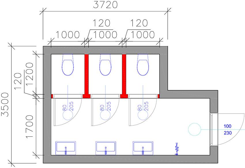 Przykładowy rzut toalety publicznej z 3 ustępami w zabudowie tradycyjnej murowanej.