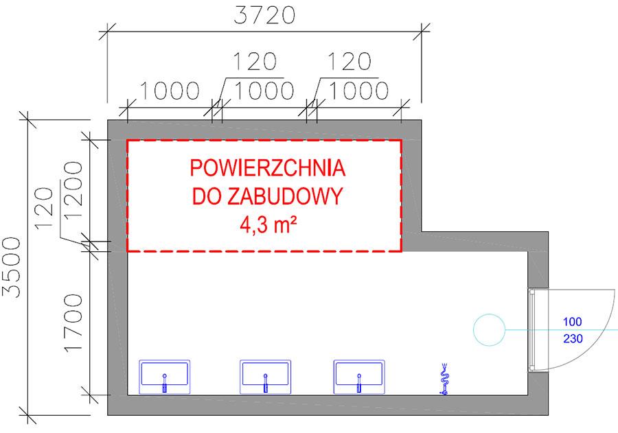 Przykładowy rzut toalety publicznej z powierzchnią do zagospodarowania pod 3 ustępy.
