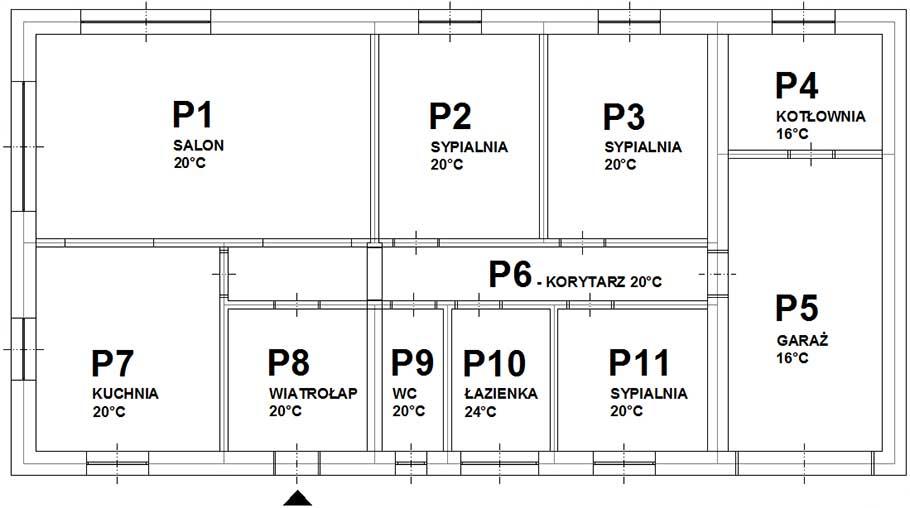 Rzut architektoniczny domu mieszkalnego jednorodzinnego o pow. 120m2