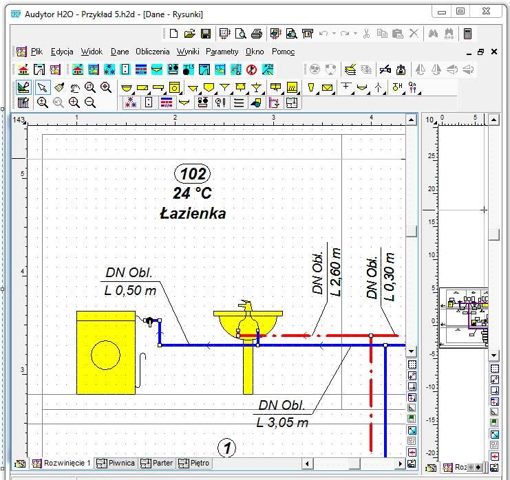 Program do projektowania instalacji sanitarnych (pakiet dwóch programów do projektowania instalacji grzewczej i wodociągowej): Audytor H2O 1.5.