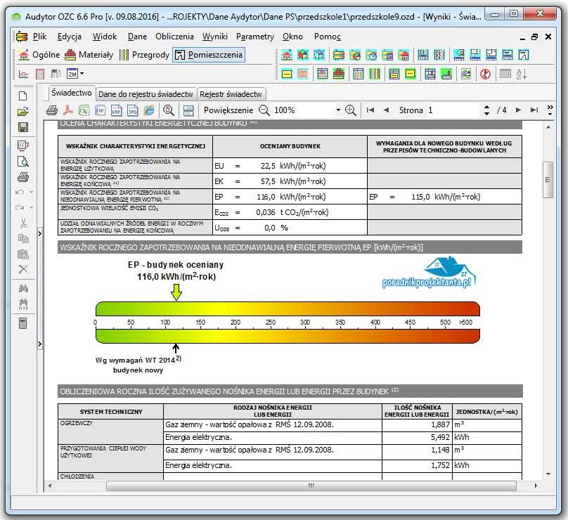 Program do obliczania zapotrzebowania na ciepło budynków. i wykonywania certyfikatów energetycznych Audytor OZC 6.7.