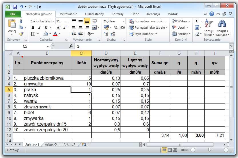 Arkusz kalkulacyjny: Microsoft Office Excel 2010.