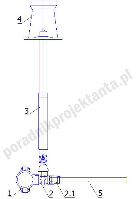 Przyłącze wodociągowe do rur PE i PVC wersja z zasuwą odcinającą z żywicy POM (Opracowanie własne na podstawie biblioteki DWG Fabryki Armatury Hawle Spółka z o.o.)