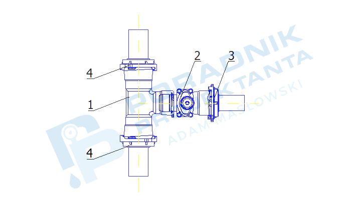 Przyłącze wodociągowe PE dn90 do hali magazynowo-produkcyjnej Schemat montażowy włączenia do sieci wodociągowej na bazie elementów Hawle BAIO (schemat ten można również wykorzystać w celu przyłączenia hydrantu DN80)