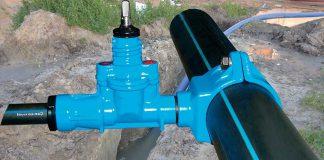 Przyłącze wodociągowe - opaska do nawiercania HAWLE HAWEX z zasuwą odcinającą (źródło: tło własne, Armatura Hawle Spółka z o.o.