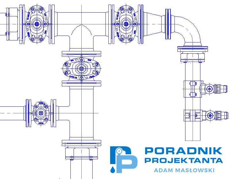 Rysunek. Projekt wykonawczy przykładowego węzła wodociągowego (Opracowanie własne na podstawie bloków armatury i kształtek Fabryki Armatury Hawle Spółka z o.o.).