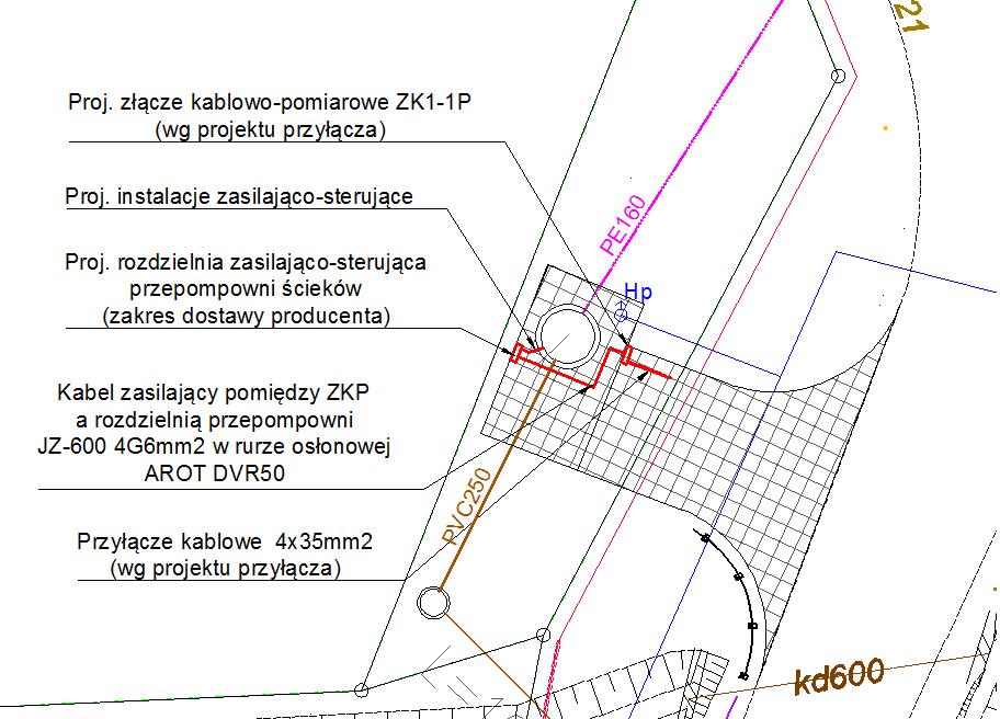 Przykładowy projekt zagospodarowania terenu (linie zasilające i sterujące)