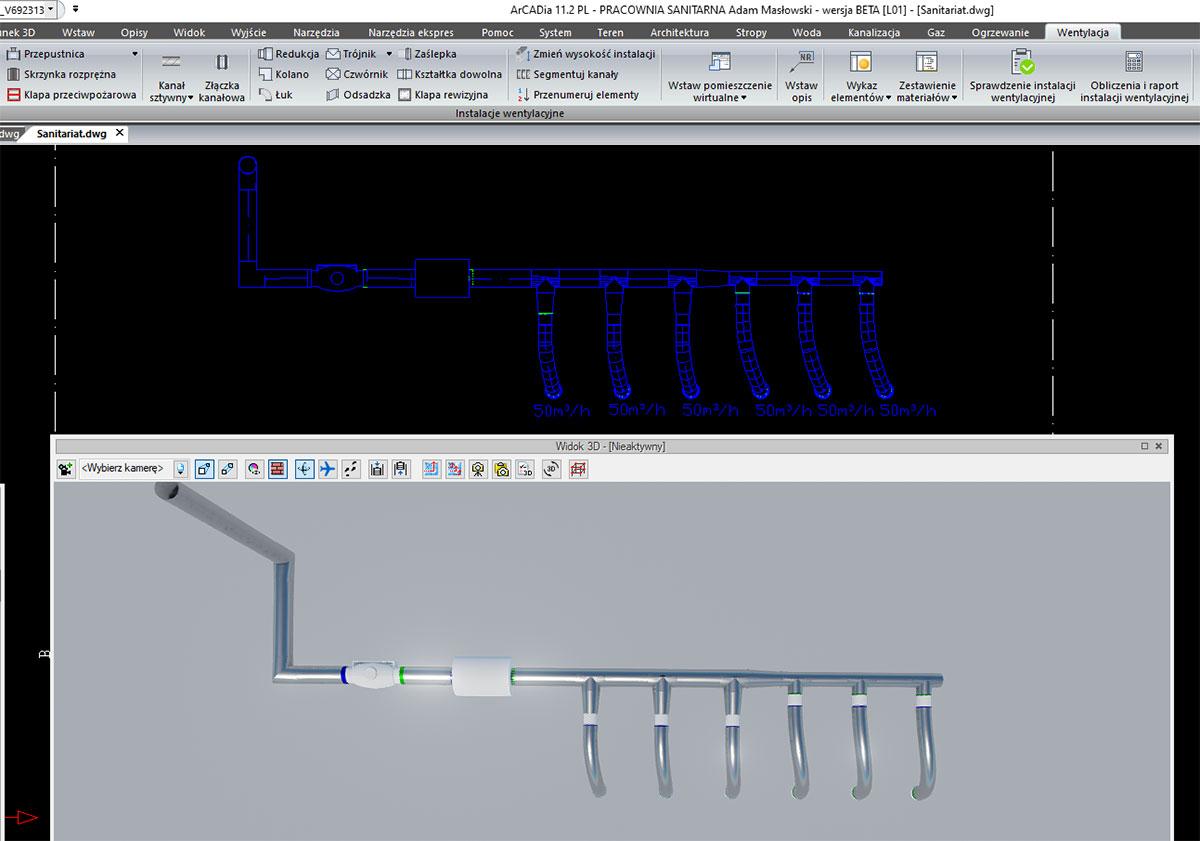 Moduł branżowy systemu ArCADia - rzut instalacji oraz widok 3D instalacji