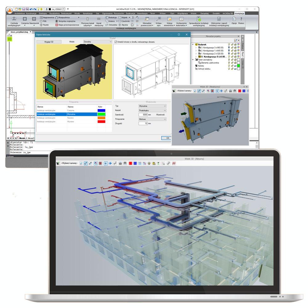 Program wspomagający projektowanie instalacji wentylacji mechanicznej - ArCADia-INSTALACJE WENTYLACYJNE to moduł branżowy systemu ArCADia fot. ArCADiasoft Chudzik sp.j.;