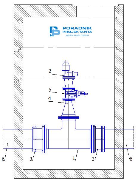 Przykład zabudowy podziemnej zaworu napowietrzająco-odpowietrzającego na sieci wodociągowej PE315. Opracowanie własne przy wykorzystaniu kształtek i bloków DWG Fabryki Armatury Hawle Spółka z o.o.