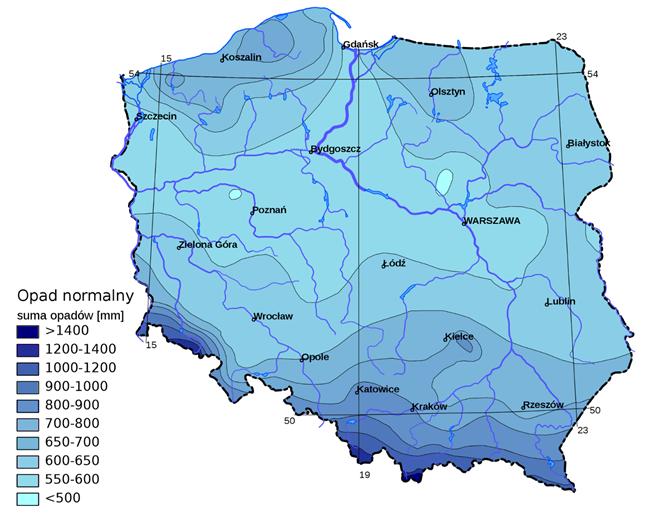 Rysunek 1. Przeciętne sumy opadu w Polsce. Lata 1971 – 2000. Źródło: https://pl.wikipedia.org/ Atlas Klimatyczny Polski IMGW 2005
