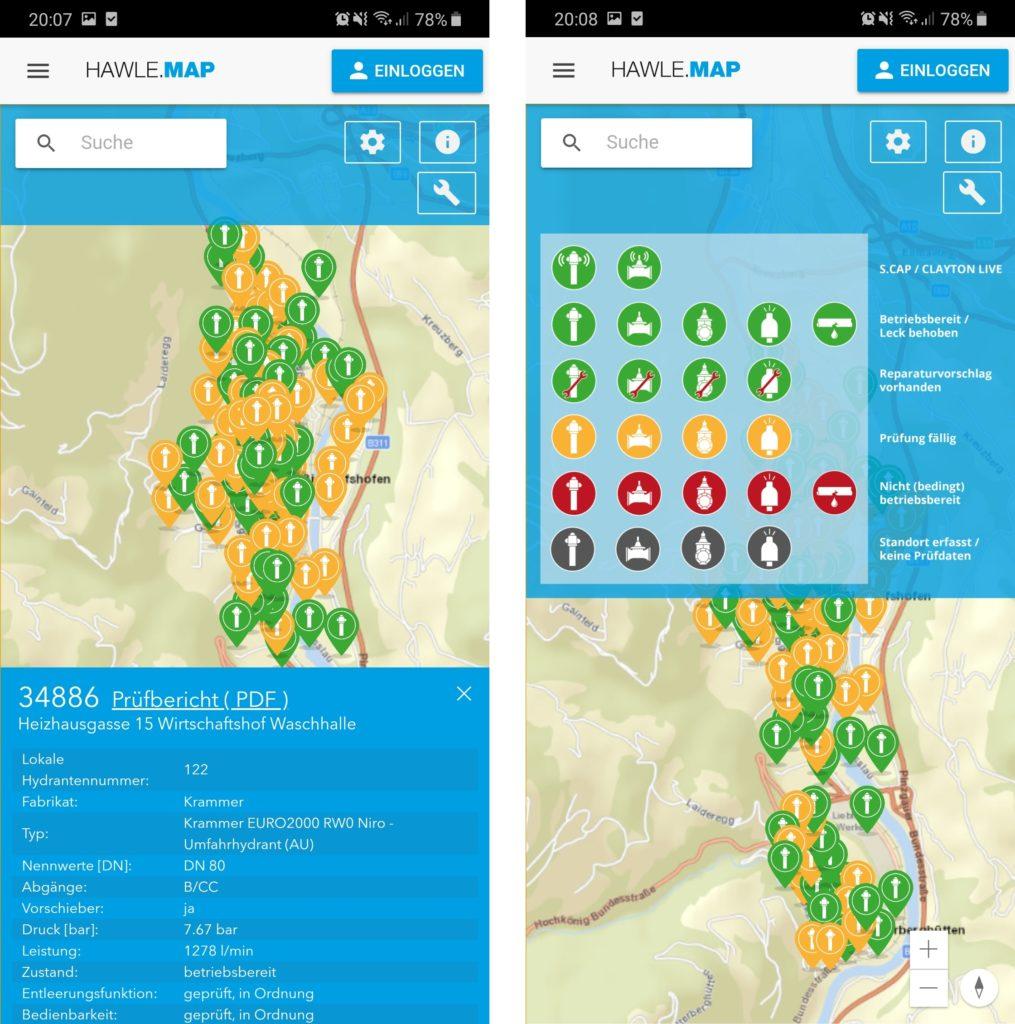 Rysunek 3. Aplikacja HAWLE.MAP do monitorowania poboru wody z hydrantów zewnętrznych