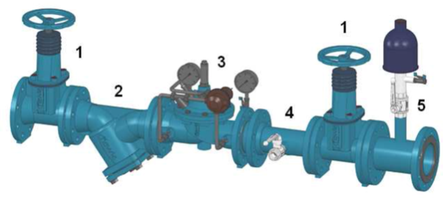 Przykładowa zabudowa zaworów regulacji ciśnienia